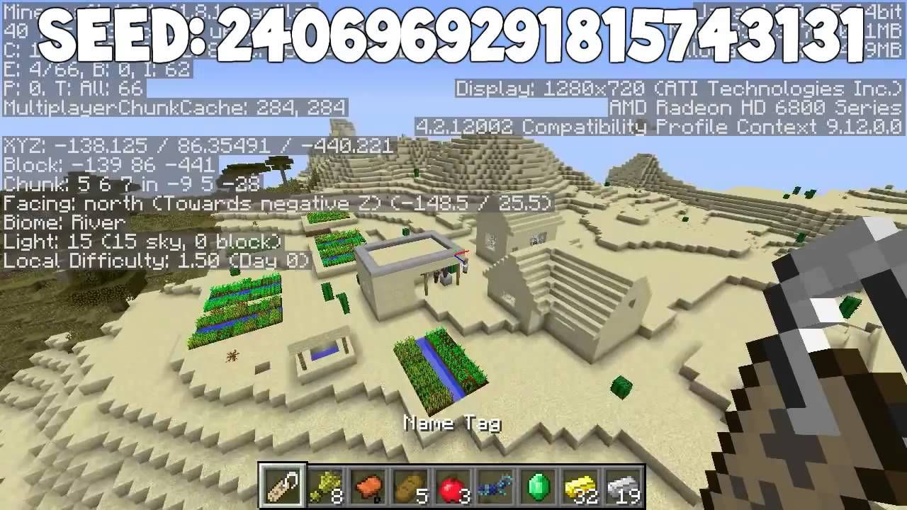 Minecraft Seeds - 6 Diamonds at spawn, 3 villages at spawn, 2