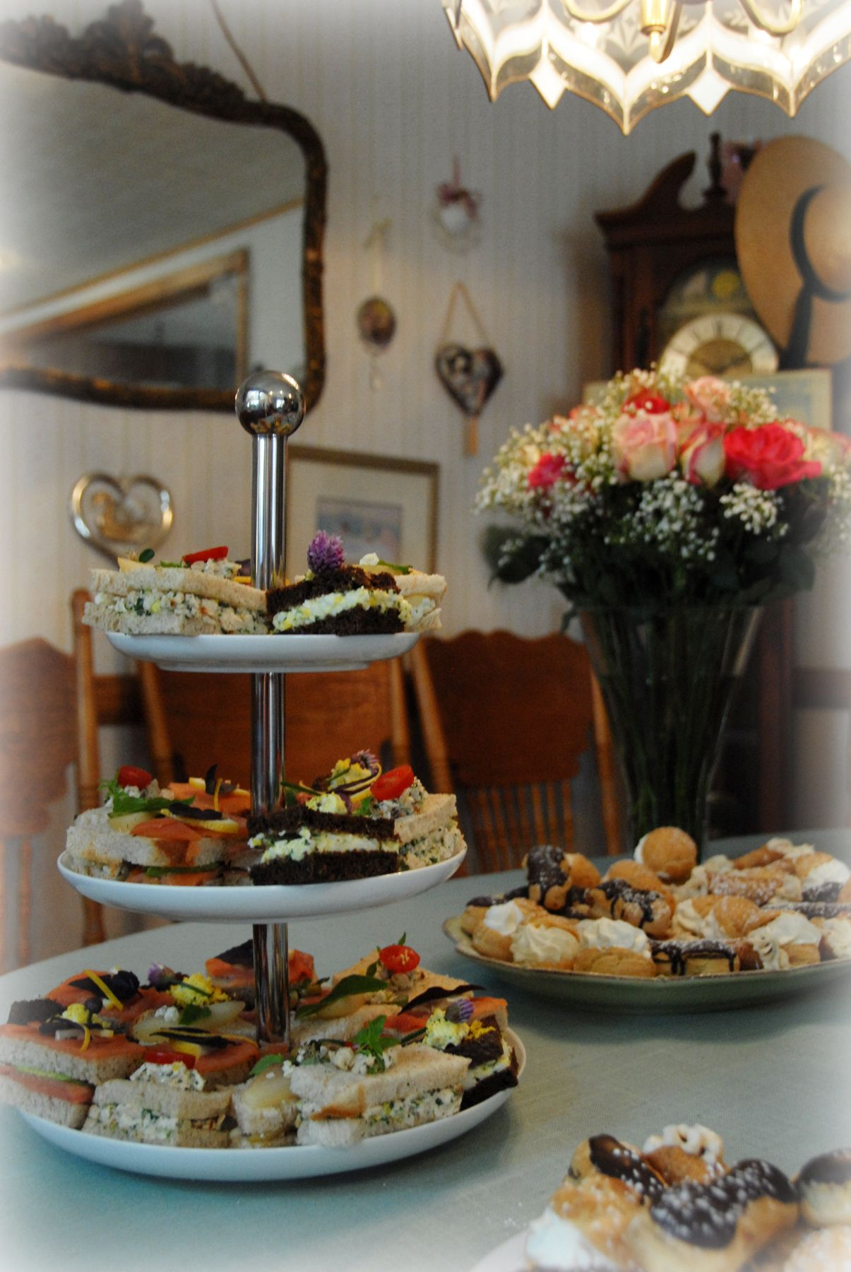 high tea bridal shower petit four sandwiches display french pastries display