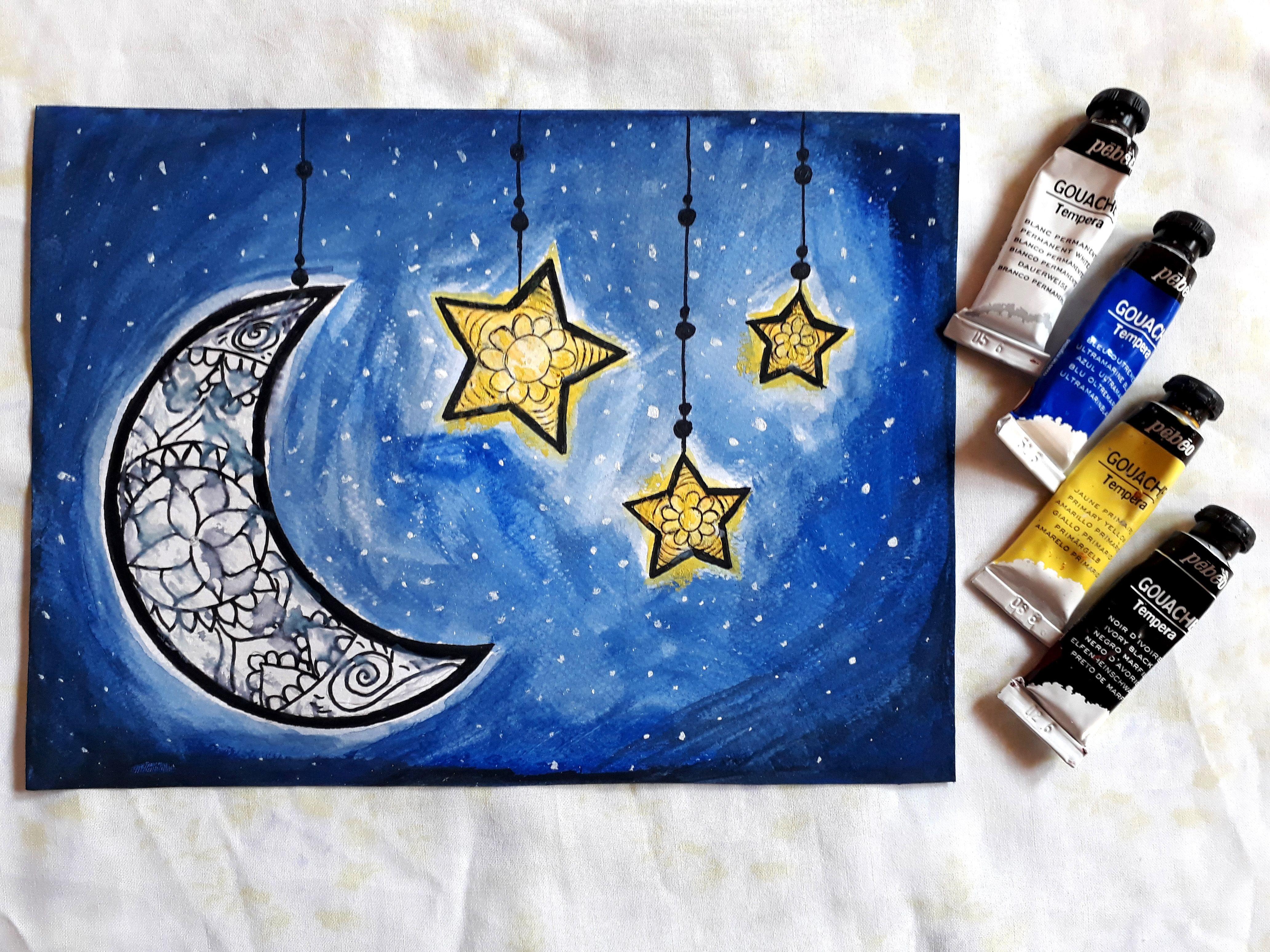 ماندالا بسيطة على الهلال والنجوم Moon Drawing Simple Mandala Star Art