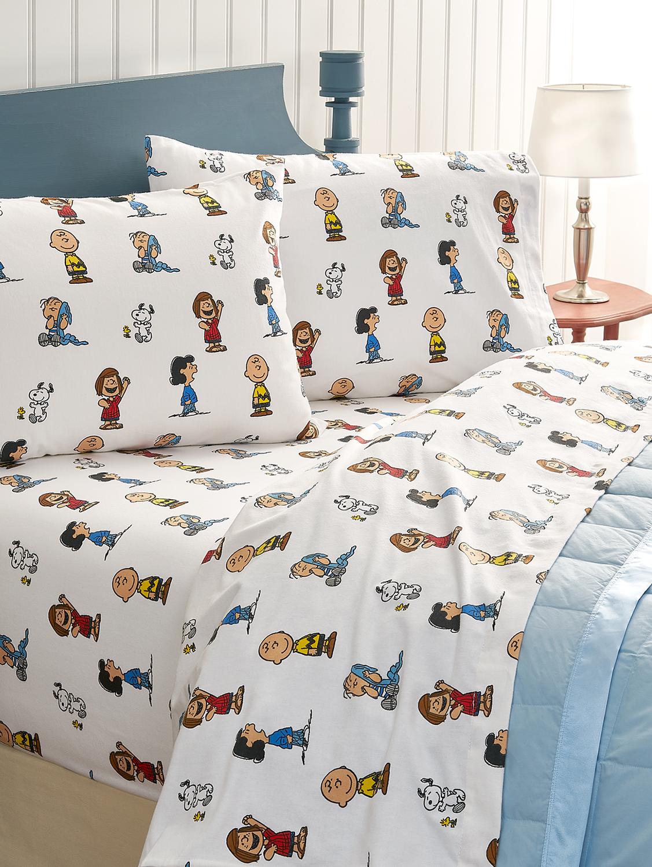 Peanuts Gang Flannel Sheet Set Kids Corner Plaid Bedding