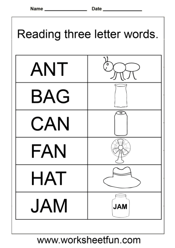 Simple Words Worksheet 3 Letter Words Three Letter Words Letter N Words