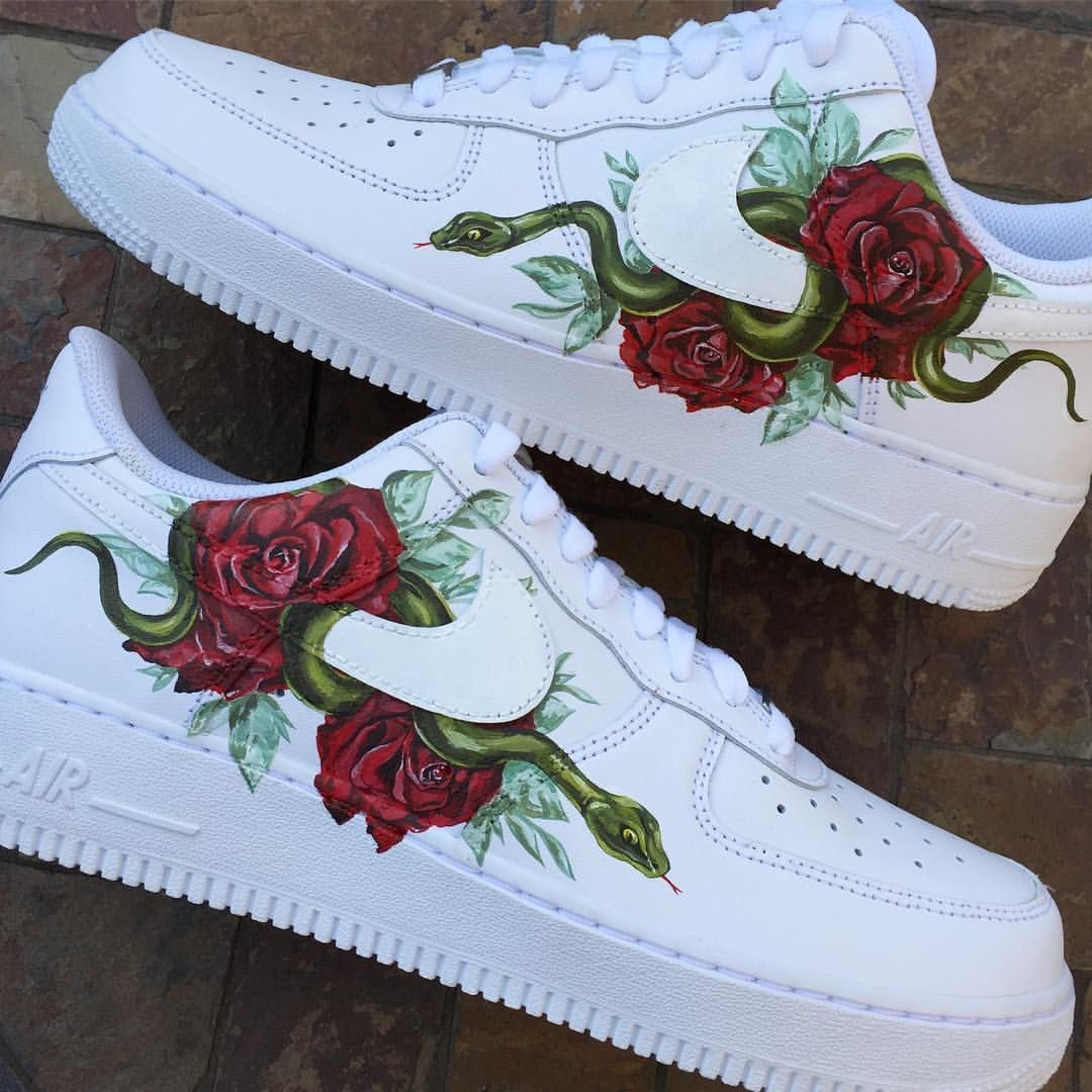 WomenMen New Style DUMR X Custom Nike Air Force 1 Low Floral Rose Patch Flower White