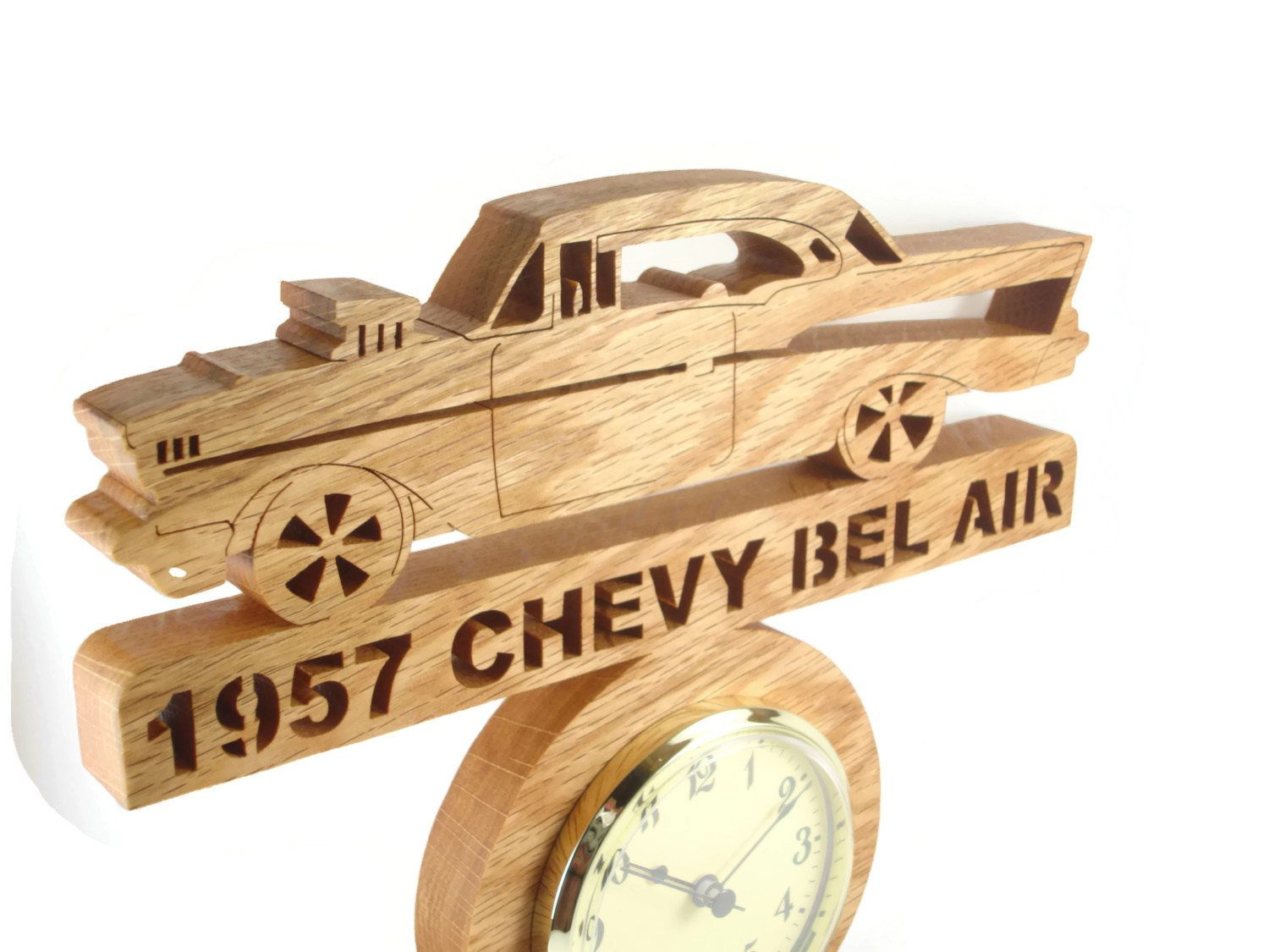 1957 Chevy Bel Air Wall Hanging Clock Handmade From Oak Wood By Kevskrafts Hanging Clock Hanging Flower Wall Wall Hanging
