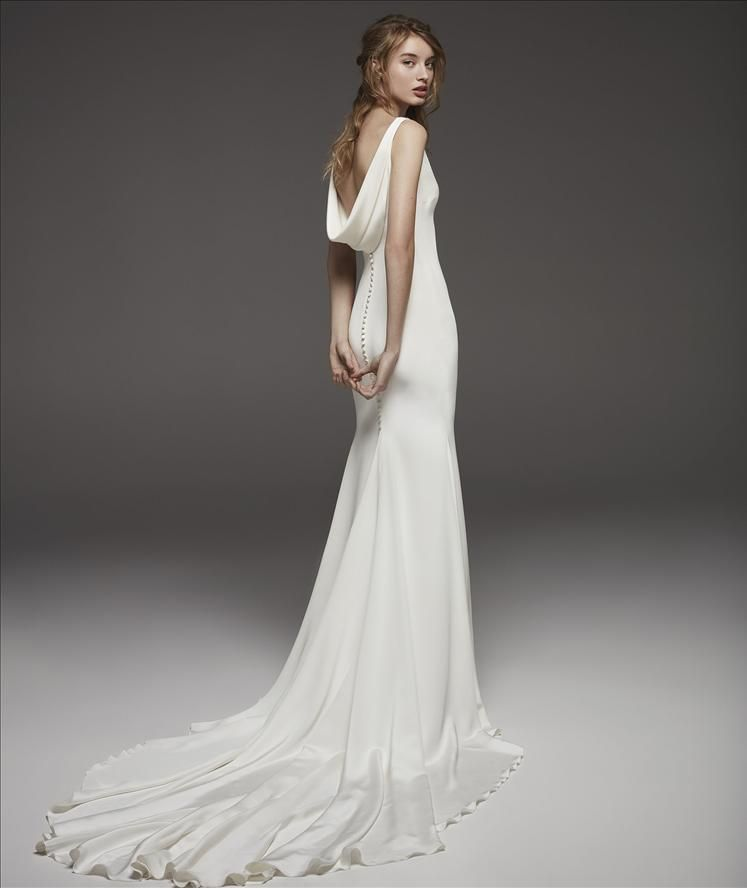 Cowl Neck Wedding Dresses Whimsical: Sleeveless V-neck Simple Silk Sheath Wedding Dress