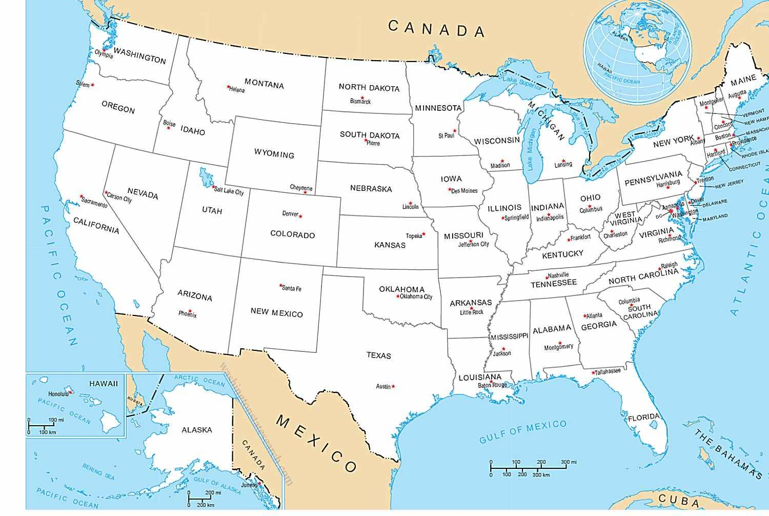 us map map of The United States of America with all