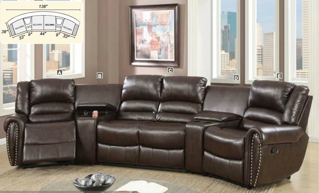 Modern 5Pc Reclining Home Theater Set Brown Bonded Leather ...