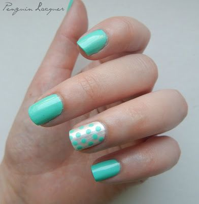 Misslyn Candy Mint with accent nail: Essie Pearly White
