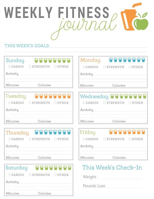 free printable fitness journal
