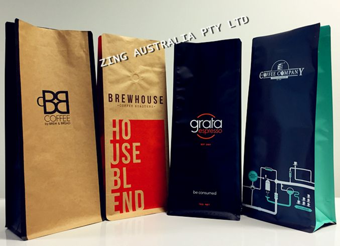 Custom Printed Box Bottom Coffee Bags Eight Side Sealed Newest Style Custom Printed Boxes Printing Labels Coffee Bag