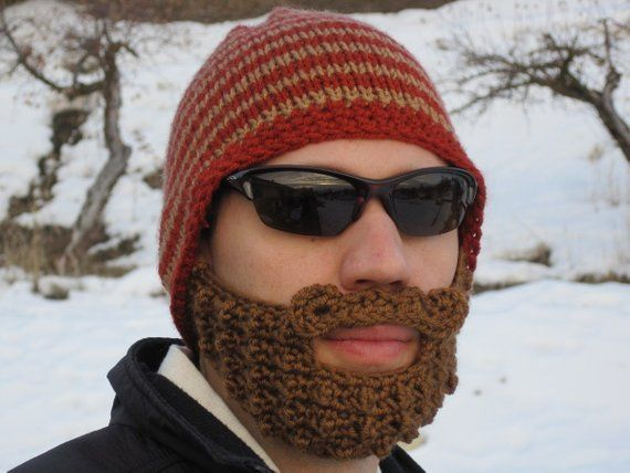 crochet beard hat, mens beard hat, knit beard beanie, crochet beard toque, mens mustache hat  The Or #crochetedbeards