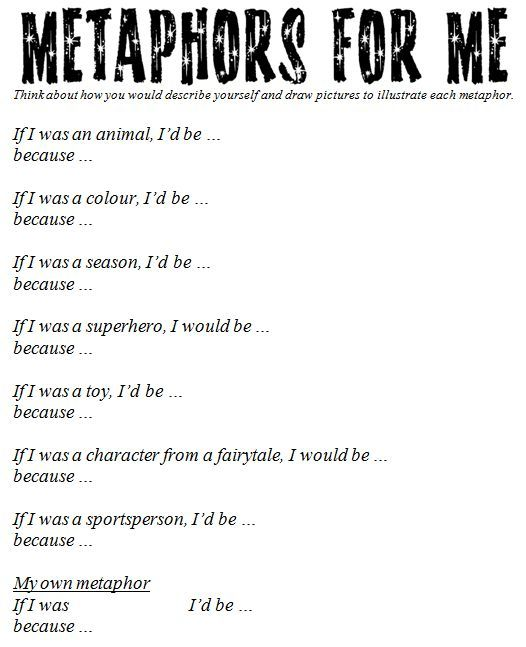 Metaphor worksheet. Great site with many ideas to support critical ...
