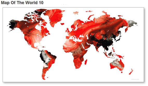 World map art print from painting white red black travel earth maps world map art print from painting white red black travel earth maps abstract colorful canvas ready gumiabroncs Images