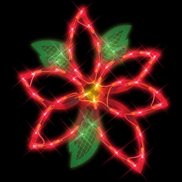 Poinsettia Lighted Christmas Decoration At Allholidaytreasures