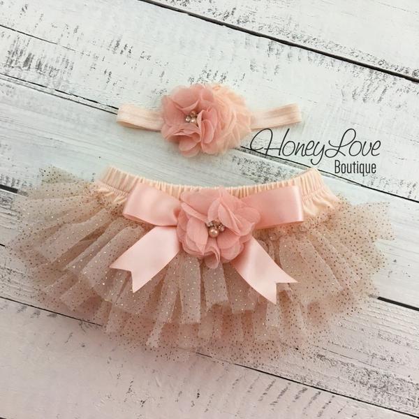 df4a2c364 Peach gold glitter ruffle tutu skirt bloomers, embellished flower  rhinestone pearl headband bow, newborn