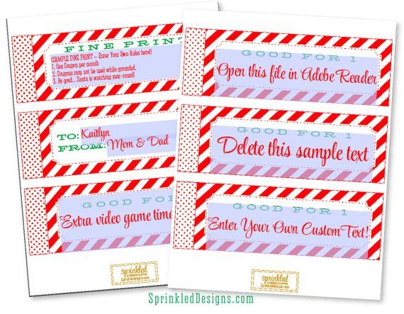 Christmas Gifts For Him For Her - Christmas Coupons - Wife Husband