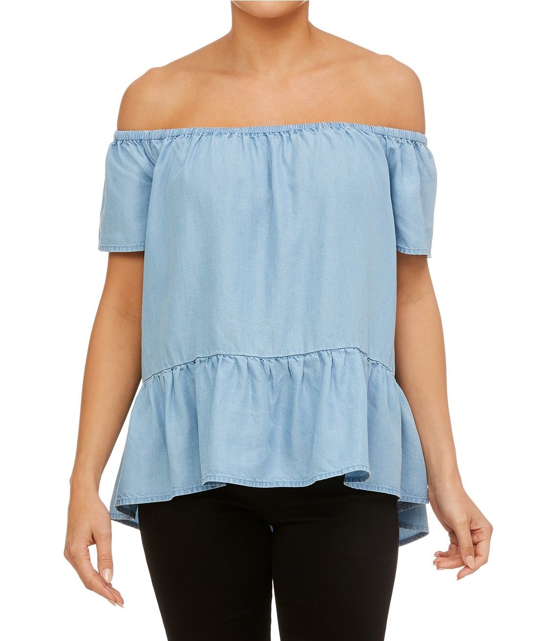 e87d16128ea18 Bare your shoulders with the Off Shoulder Swing Top. This mid blue lyocel  top features