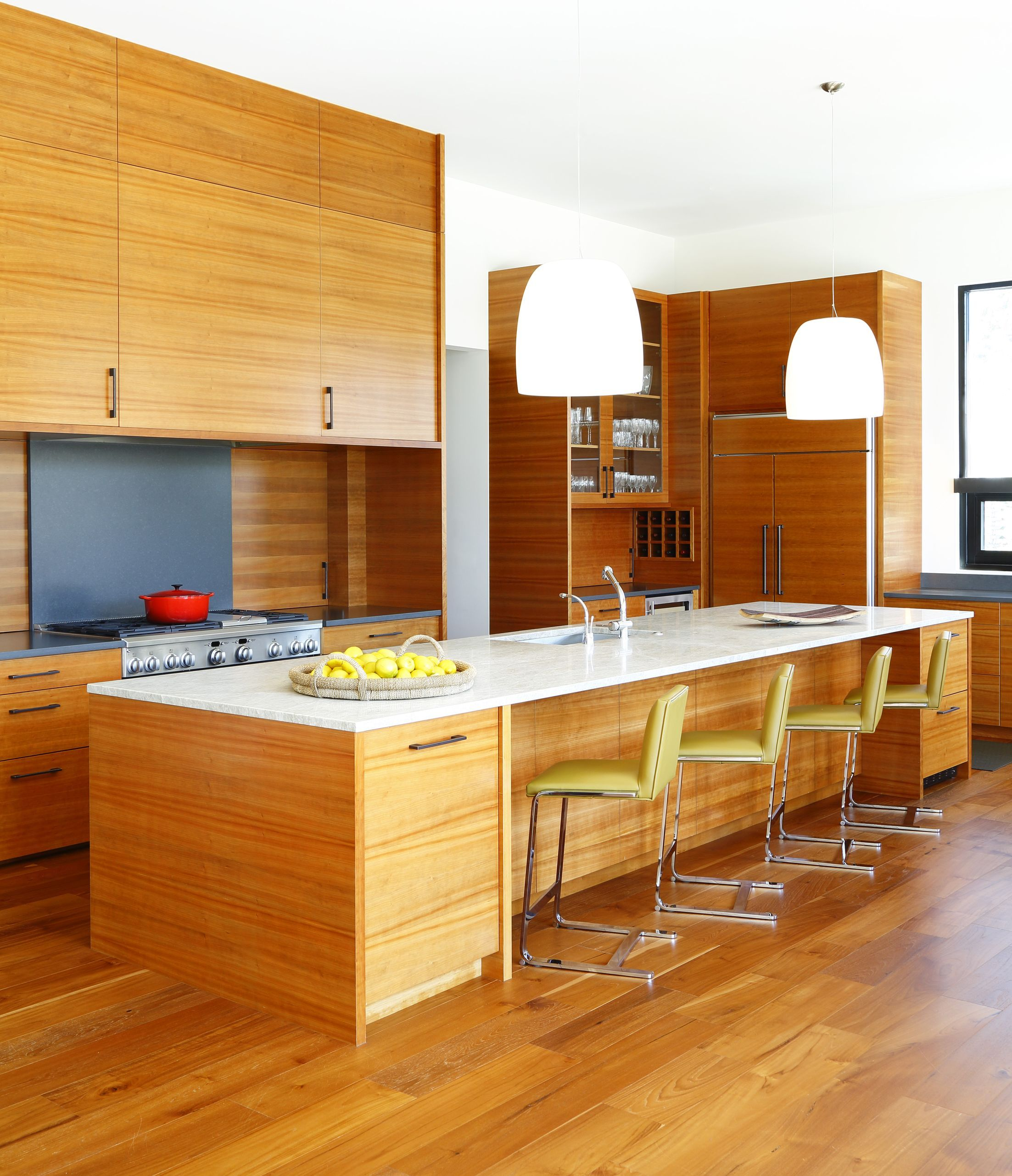 Kitchen Island Inspiration: Love This Wood & White Contemporary Kitchen Island! Images