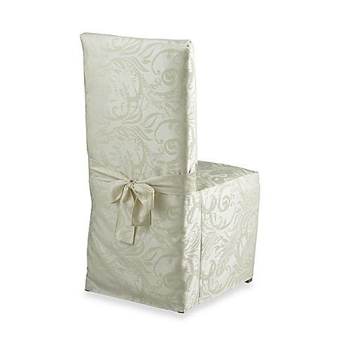 Autumn Scroll Damask Dining Room Chair Cover In Ivory