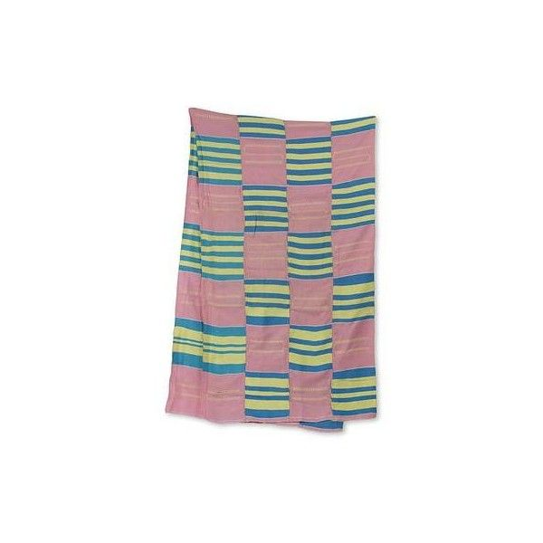 NOVICA Hand Woven Pastel Kente Scarf from Ghana (18 Inch Width) ($148) ❤ liked on Polyvore featuring accessories, scarves, clothing & accessories, pink, woven scarves, pink scarves, colorful shawl, pink shawl and colorful scarves