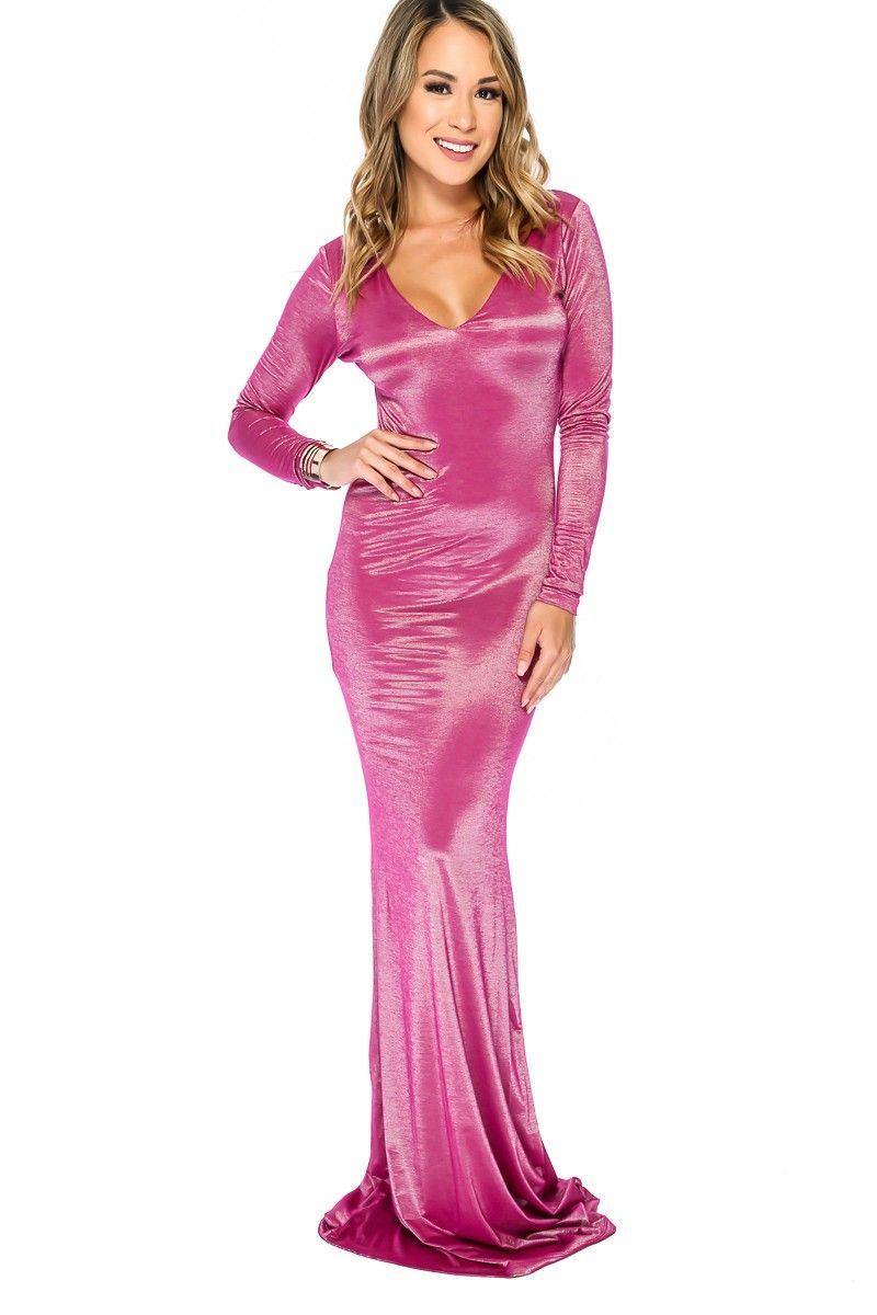 Sexy Metallic Magenta Long Sleeve Maxi Formal Party Dress