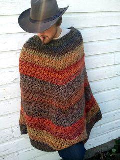 Mitered Unisex Poncho: Crochet