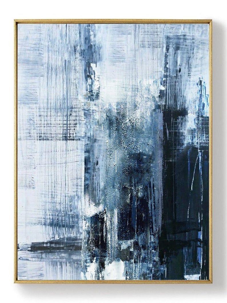 Original Deep Blue Abstract Art Minimalist Abstract Painting Large