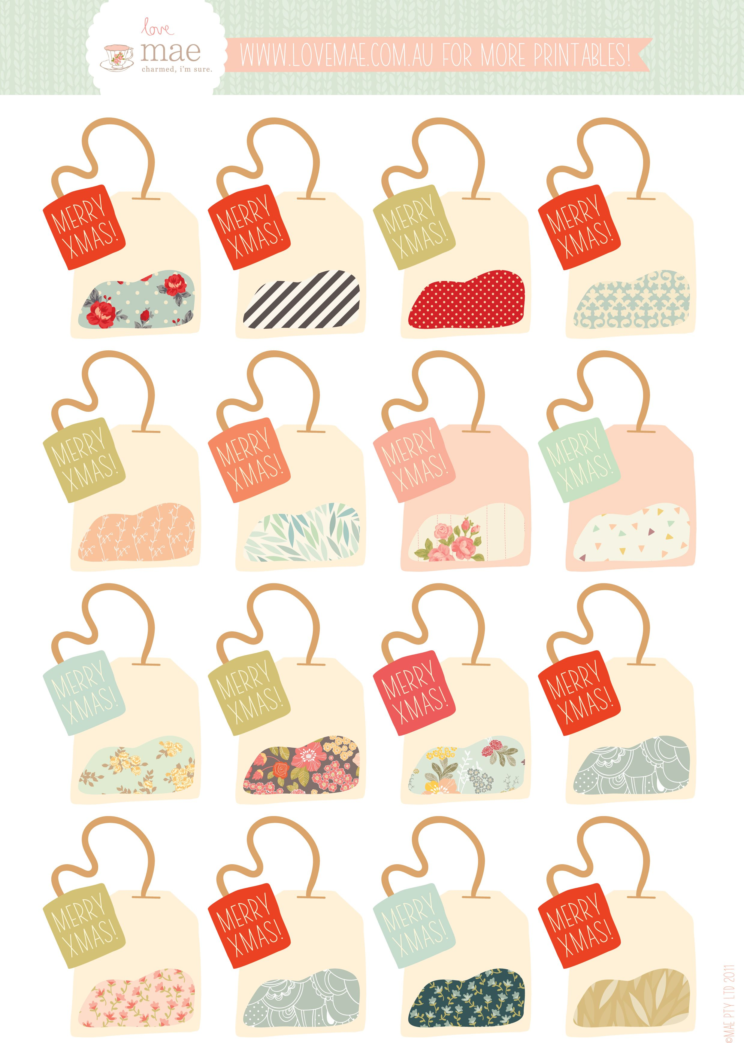 Free Printable Tea Bag T Tags If Only It Didn T Say Xmas