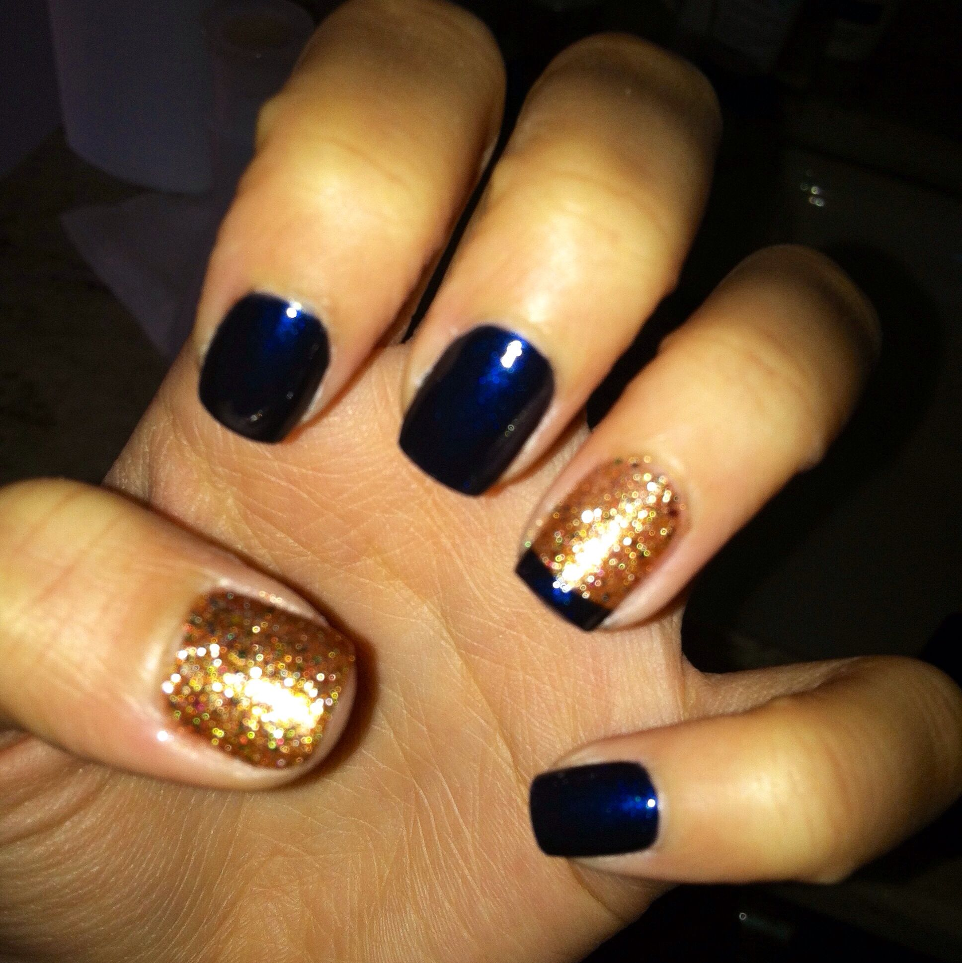 Navy Blue And Gold Sparkle Nails Cute Nail Design My Nails