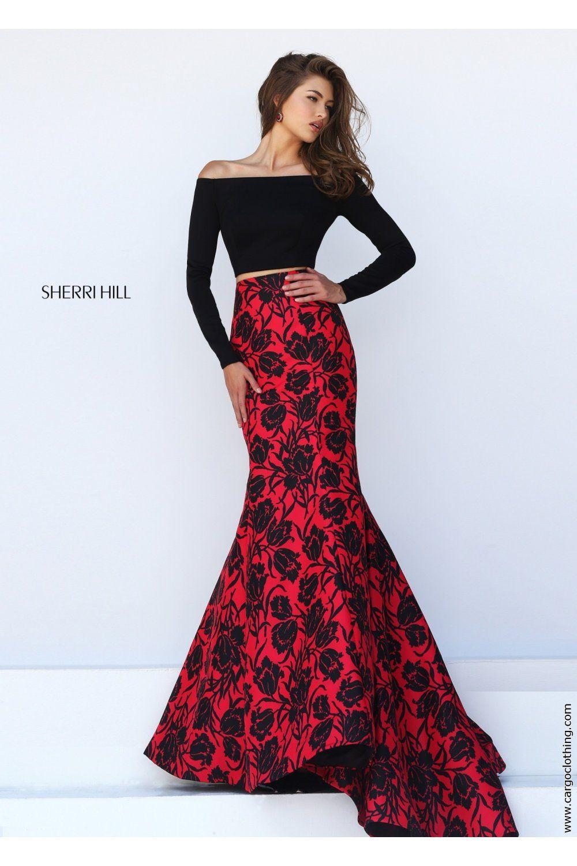 Sherri Hill 50127 Black & Red 2 Piece Prom Dress | Prom ...