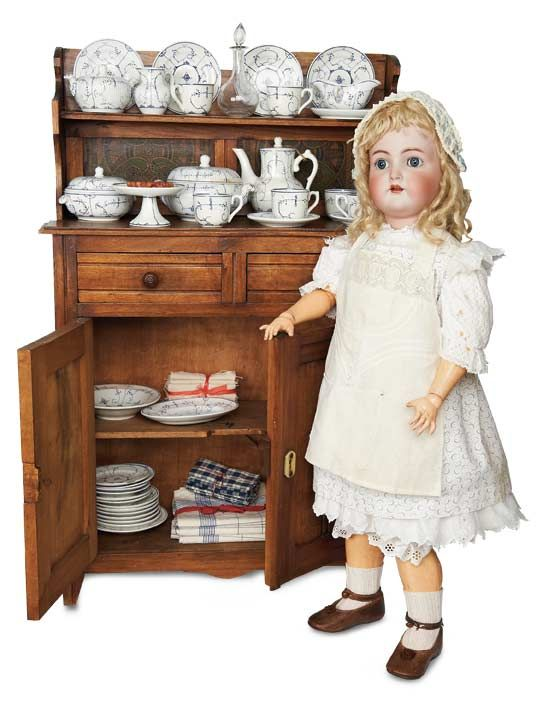 German Bisque Doll by Kammer and Reinhardt with Kitchen Cabinet and Dishes ... c. 1910