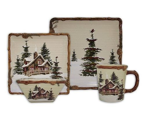 SNOW VALLEY Place Set Dinnerware Woodland Lodge Moose Country ...