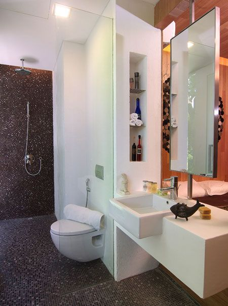 Bathroom , Modern Small Bathroom Ideas : Glass Shower Tile With Proper  Lighting And Vanity In Small Bathroom Ideas Modern Style