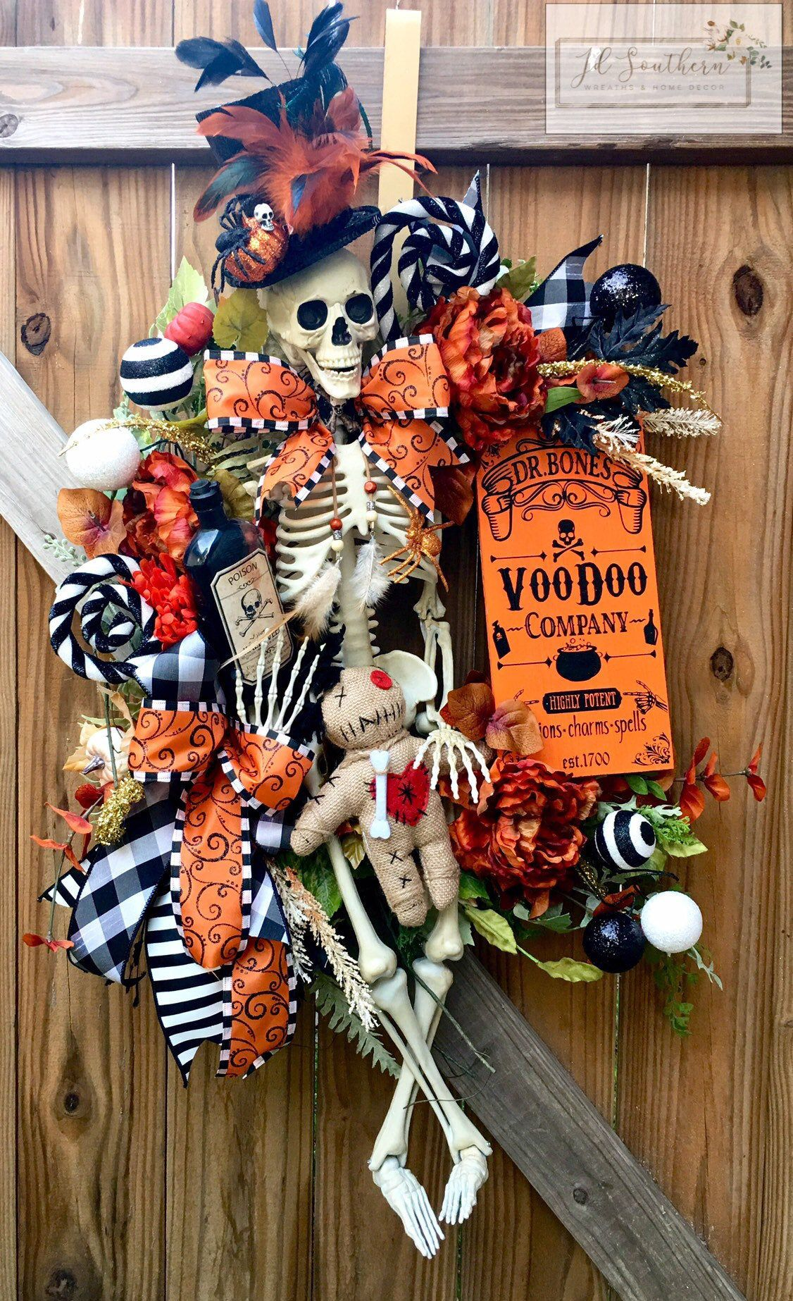 Halloween Wreath, Skeleton Wreath, Halloween Grapevine Wreath, Halloween Door Decor, Halloween Decorations #halloweendoordecor