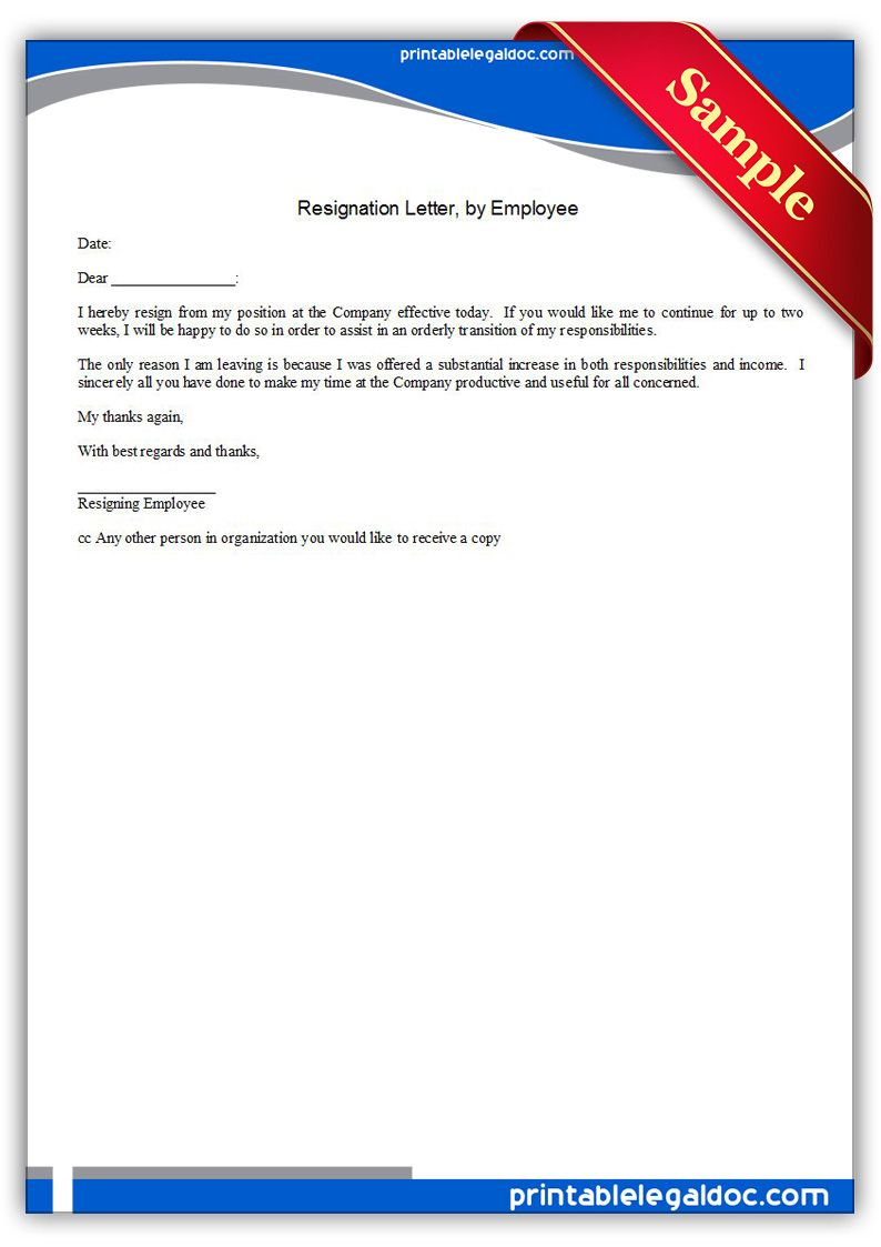 Printable Resignation Letterby Employee Template  Printable Legal
