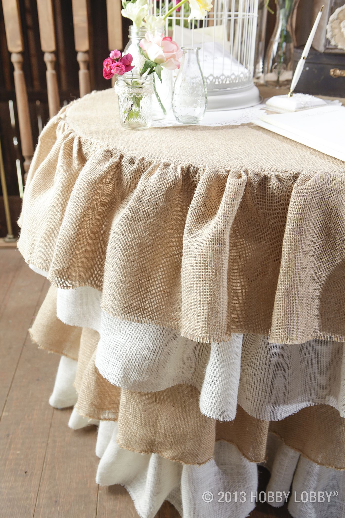 Ruffled burlap table skirt rustic elegant and