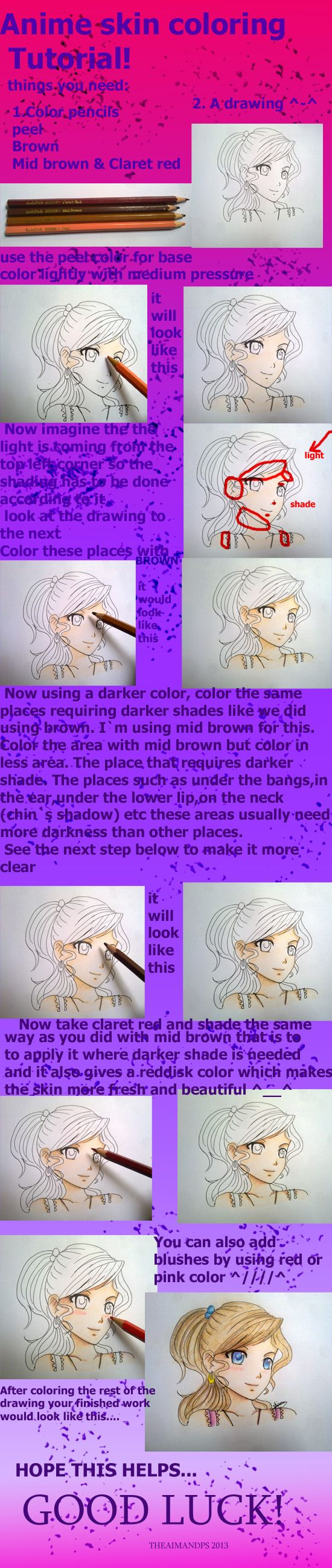 Anime Skin Coloring Tutorial Coloring Tutorial Colored Pencil Tutorial Sketches Tutorial