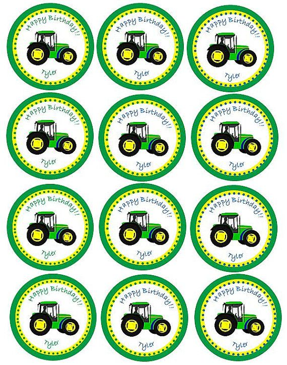 Tractor Cupcake Topper Printable Tractor Party Tractor Cupcakes