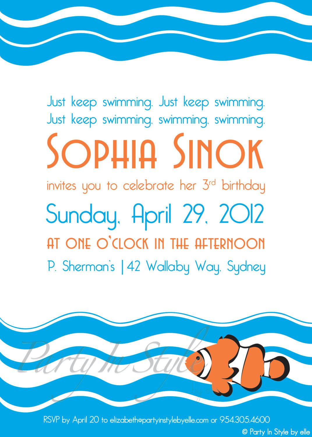 Cute Finding Nemo/Ocean Inspired Party invitation   Aaron bday ideas ...