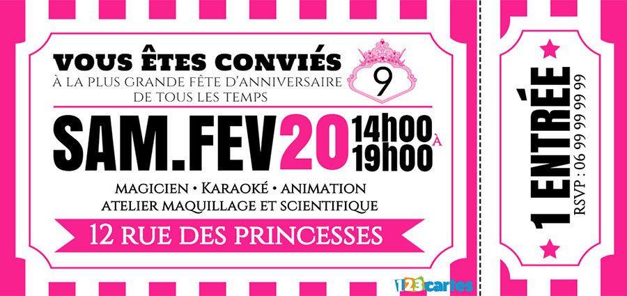 Invitation Anniversaire Ticket Princesse Carte Anniversaire A Imprimer Invitation Anniversaire Carte Invitation Anniversaire