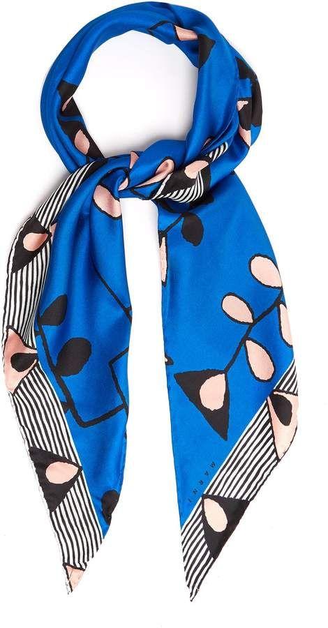 Abstract-print silk scarf Marni vMGiw4