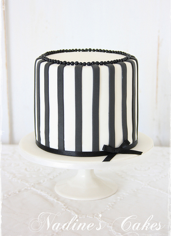 Fabulous Black White Striped Single Tier Beautiful Cakes Beautiful Funny Birthday Cards Online Alyptdamsfinfo