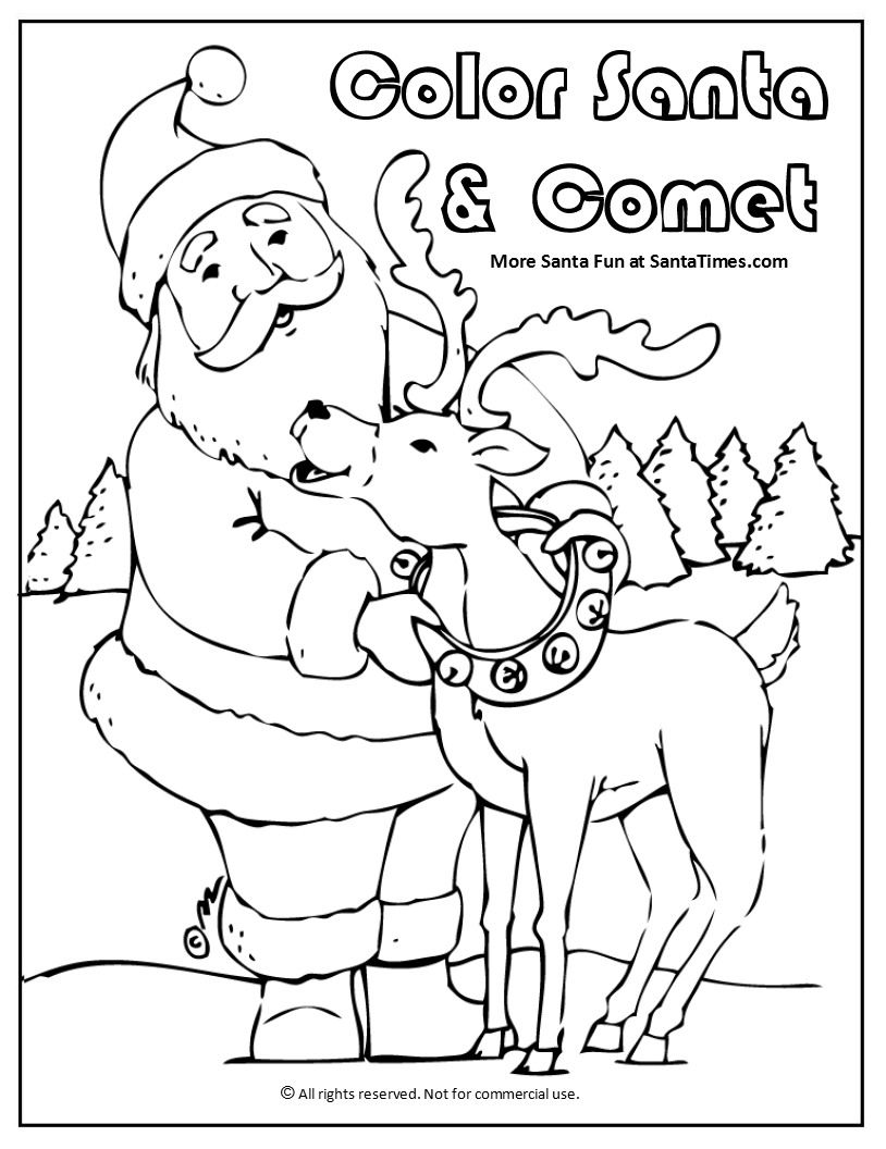 Santa And Comet Coloring Page More At Www Santa T Com Santa