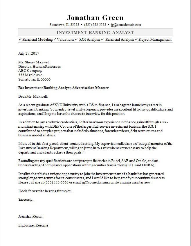 cover letter investment banking intern