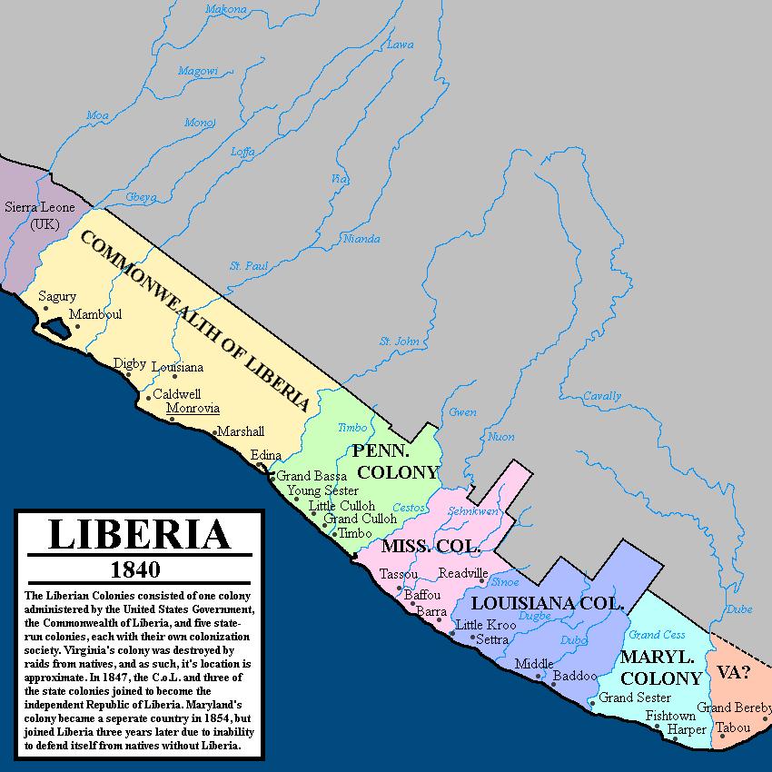 Colonial Liberia - 1840   Africa   Liberia, Sierra leone, Map
