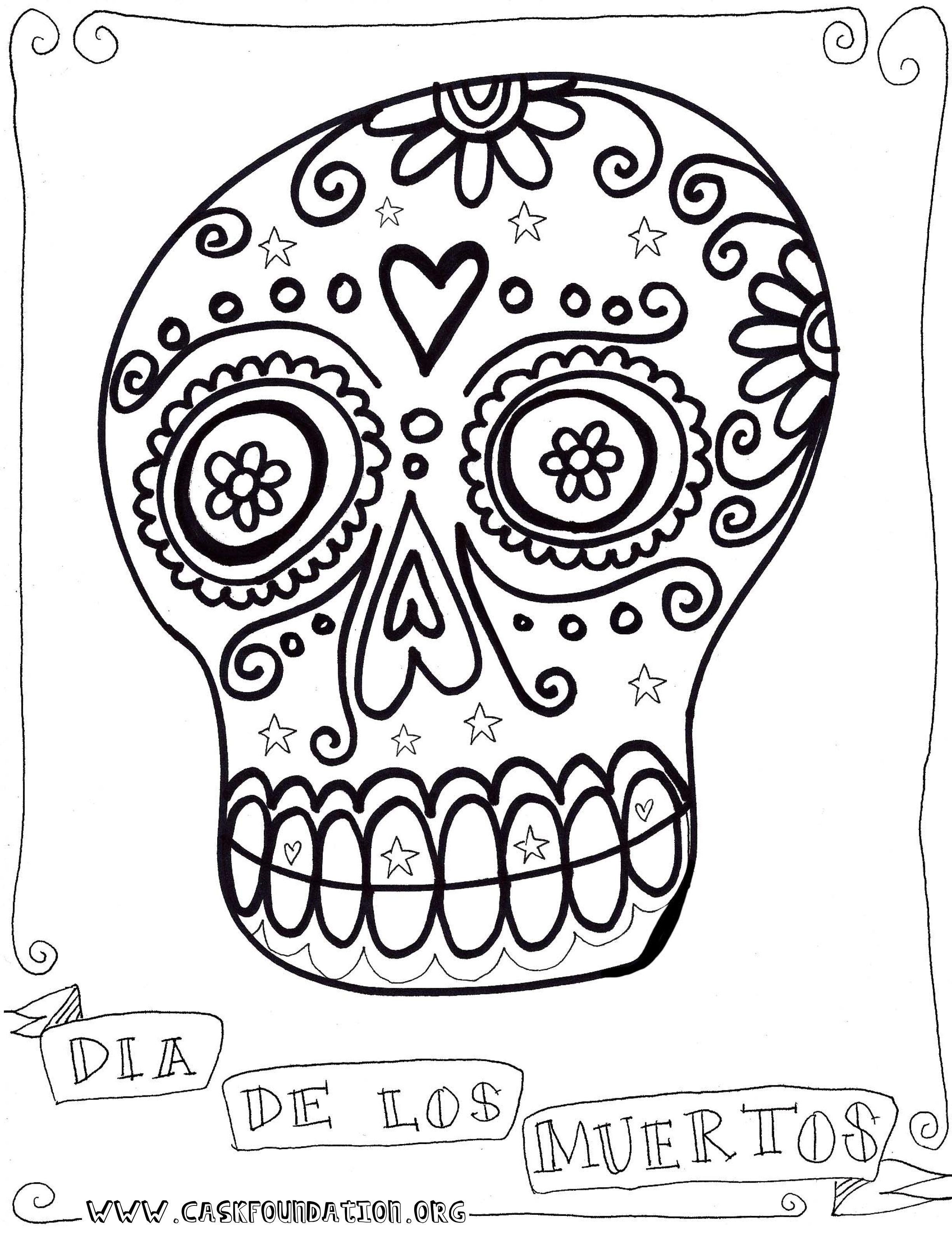 Dia De Los Muertos Coloring Page Skull Coloring Pages Dia De