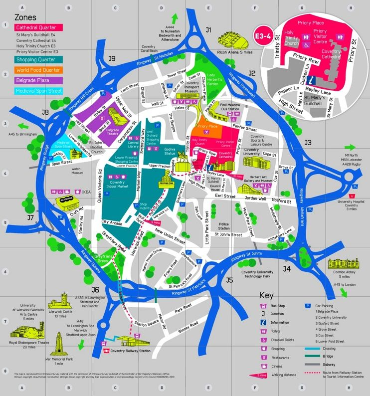 Coventry sightseeing map | Maps в 2019 г.
