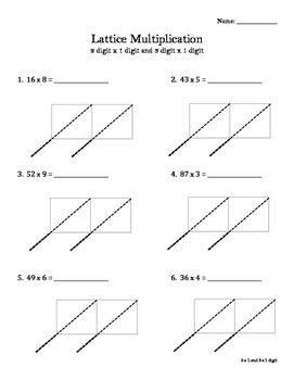Lattice Multiplication Worksheet Or Math Notebook Entry Lattice Multiplication Multiplication Multiplication Worksheets