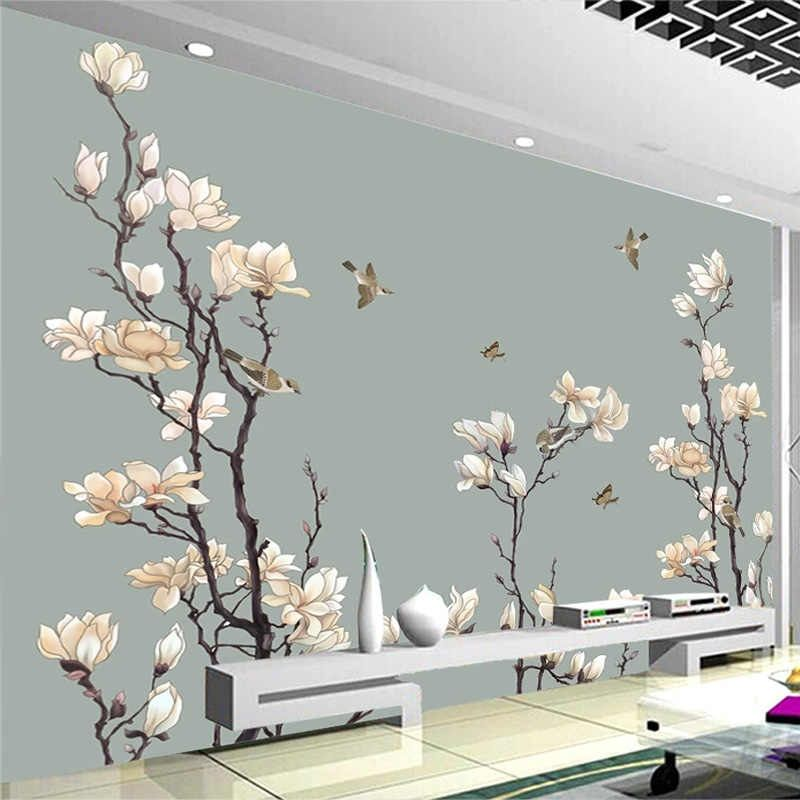 Foto Papel De Parede do Estilo Chinês Mão-pintado Magnólia Flores Aves Murais de Papel De Parede Que Vivem TV Sala de Estudo Decoração Da Sua Casa afresco