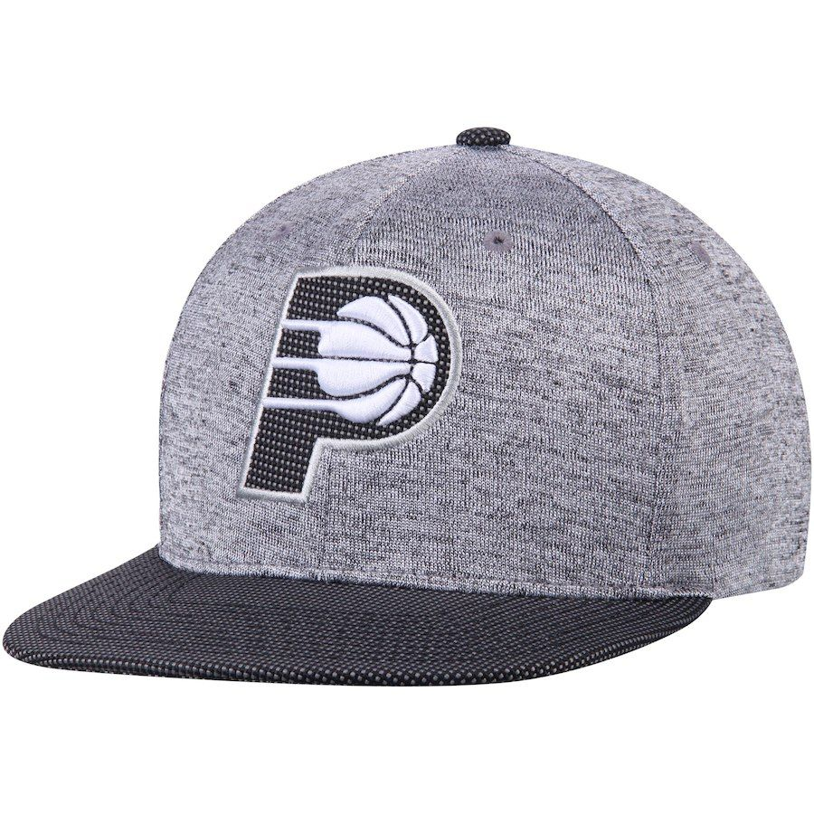 ed9f4c11838 Men s Indiana Pacers Mitchell   Ness Heathered Gray Black Space Knit  Snapback Adjustable Hat