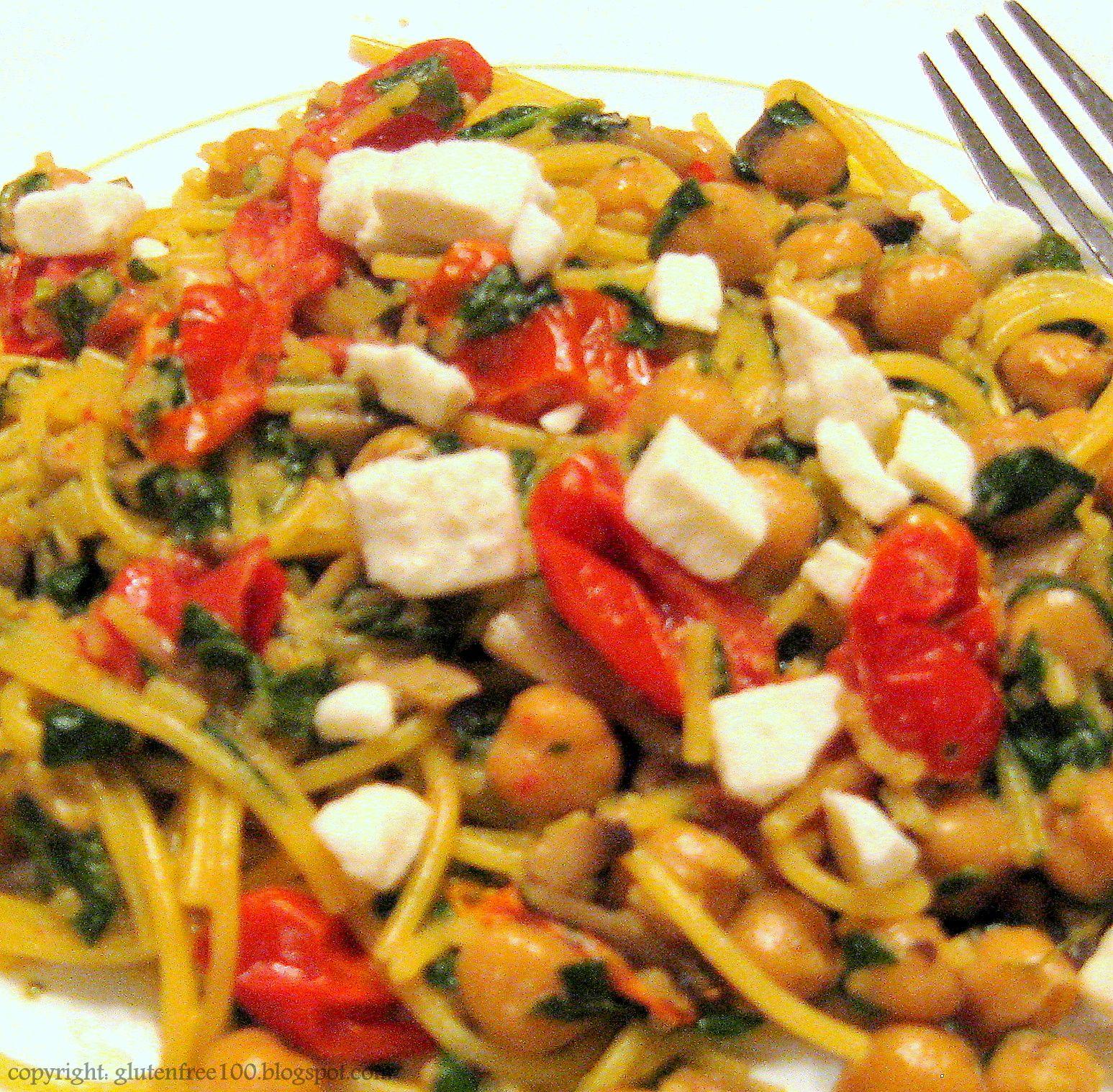 Gluten free spaghetti with chickpeas in a creamy white